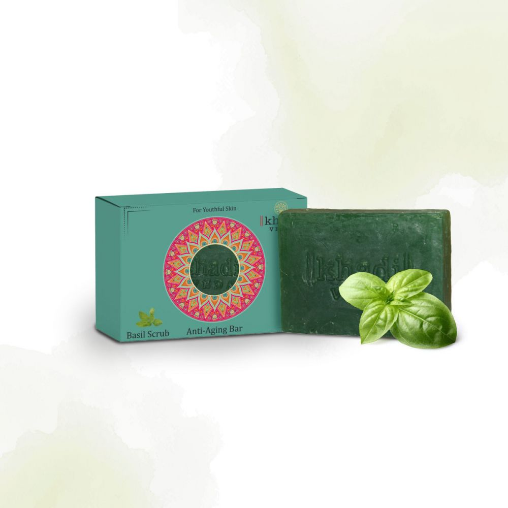 Khadi Veda Basil Scurb Skin Anti Aging Bar 100gm
