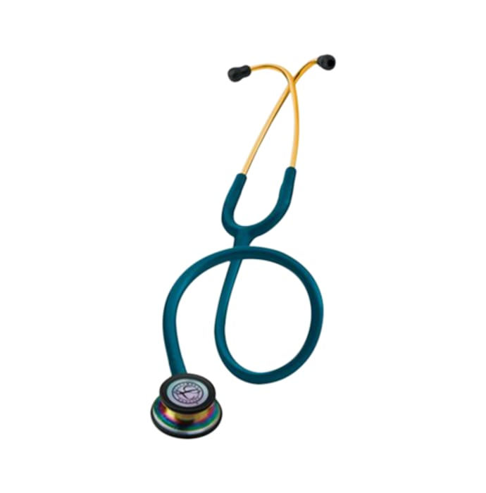 3m littmann classic iii stethoscope, rainbow-finish, caribbean blue tube, 27 inch, 5807