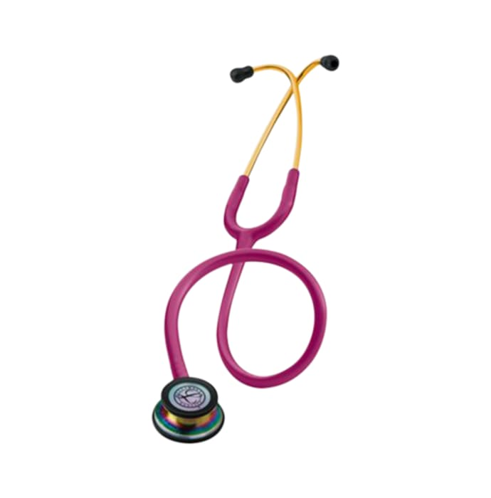 3m littmann classic iii stethoscope, rainbow-finish, raspberry tube, 27 inch, 5806